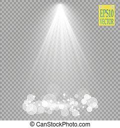 spotlights., scene., vector, efectos, luz