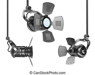 Spotlights set isolated on white