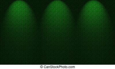 Spotlights shining down onto wall
