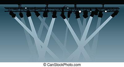Spotlights - Silhouette rig of spotlights shining their...