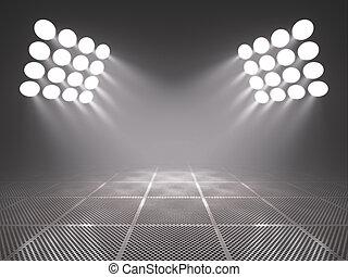 Spotlights - Empty metal platform in the spotlights