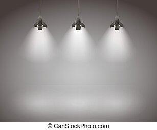 Spotlights - Studio spotlight background with lamps - vector...