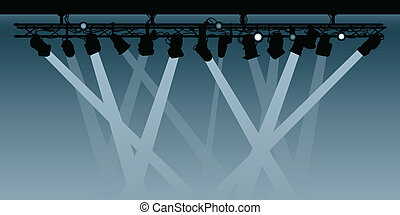 Spotlights - Silhouette rig of spotlights shining their...