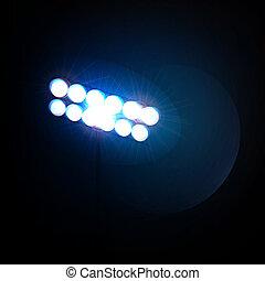 spotlights., vektor, illustration., stadion
