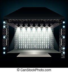 spotlights., vetorial, concerto, ilustração, fase