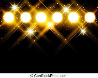 spotlights with stars over dark background, copyspace