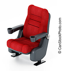 spotlit, bioscoop, popcorn, stoel, 3d, illustratie, soda., rood