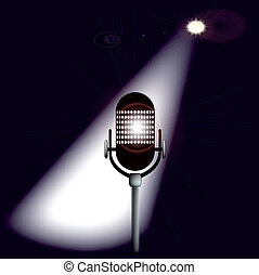 Spotlit Mic - A microphone ready on stage for the performer.