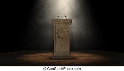 Spotlit Press Podium - A wooden speech podium with three...