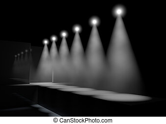 A fashion runway stage lit by a row of spotlights on a dark background
