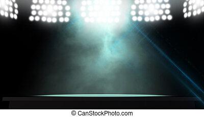Spotlit Stage - An stage lit by a single spotlight on a dark...