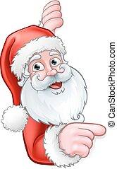 spotprent, achter, kerstman, wijzende, meldingsbord
