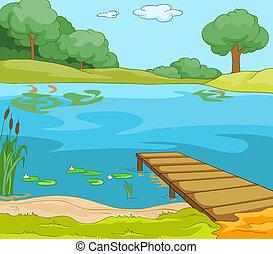 spotprent, achtergrond, van, bos, meer, met, pier.