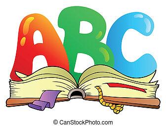 spotprent, alfabet, brieven, met, opengeslagen boek