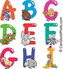 spotprent, alfabet, met, dieren