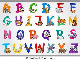 spotprent, alfabet, met, dieren, illustraties