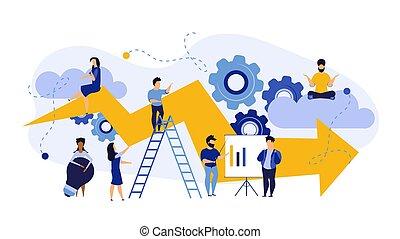 spotprent, ambitie, succes, concept, marketing, illustration., plan, carrière, bank, persoon, teamwork, opvoering, prestatie, mensen, bewindvoering, zakelijk, bevordering, vector, job., vooruit, verhoging, arrow., vooruitgaan, obligatie