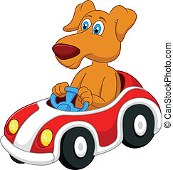 spotprent, auto, dog, geleider