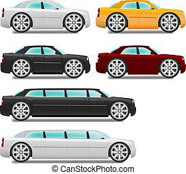 spotprent, auto's, met, grote wielen, set, sedan, en,...