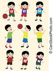 spotprent, basketbal speler, pictogram, set