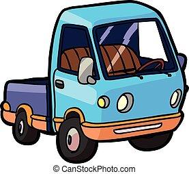 spotprent, beeld, van, een, kleine, vrachtwagen
