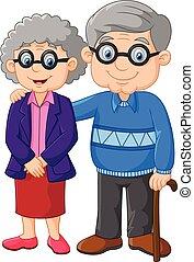 spotprent, bejaarden, vrijstaand, paar