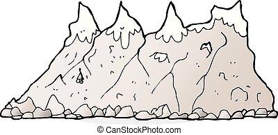 spotprent, bergketen