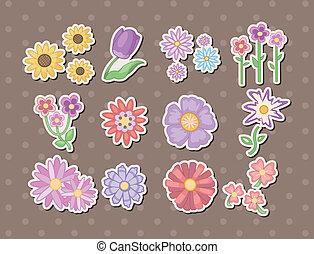 spotprent, bloem, stickers