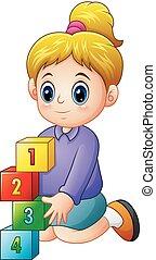 spotprent, blokje, getal, vrouwlijk, spelend