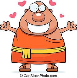 spotprent, boeddhistische monnik, omhelzing