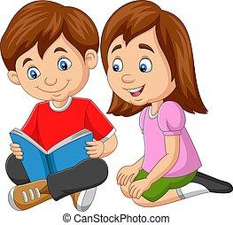 spotprent, boek, jongen lees, meisje