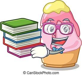 spotprent, boek, kakigori, student, vrijstaand