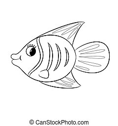 spotprent, boek, kleuren, fish.