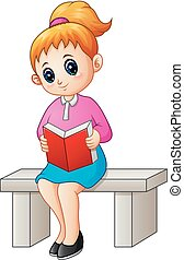spotprent, boek, lezende , vrouwlijk, zittende