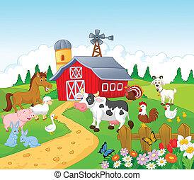 spotprent, boerderij, achtergrond, met, dier