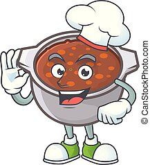 spotprent, bonen, mascotte, bakt, schaaltje, kok
