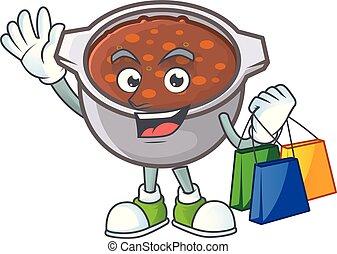 spotprent, bonen, mascotte, bakt, schaaltje, shoppen
