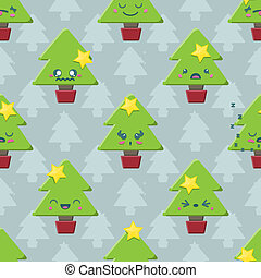 spotprent, boompje, kerstmis, seamless