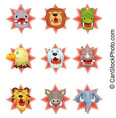 spotprent, boos, dierenkop, iconen