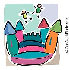 spotprent, bouncy, kasteel