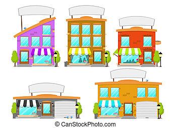 spotprent, boutique, gebouw, reeks