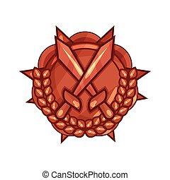 spotprent, brons, medaille, van, militair, verdienste, met, gekruiste, zwaarden, en, laurierkroon, vrijstaand, op wit