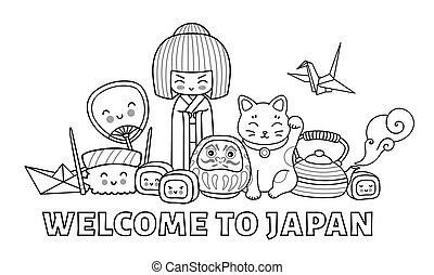 spotprent, characters., japan., welkom, book., kleuren, groep, pagina