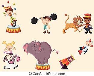 spotprent, circus, retro, karakters, animals.