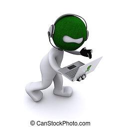 spotprent, computerkraker, met, draagbare computer