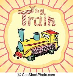spotprent, de trein van het stuk speelgoed, gekleurde, hand, trekken