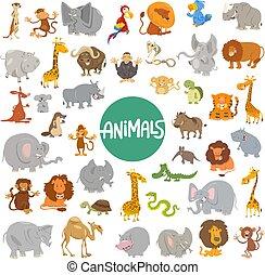 spotprent, dier, karakters, groot, set