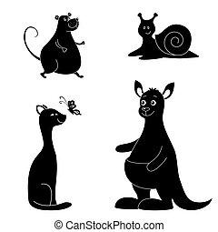 spotprent, dieren, silhouette
