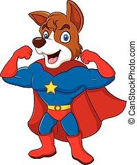 spotprent, dog, het poseren, superhero