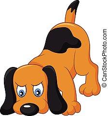 spotprent, dog, het snuiven